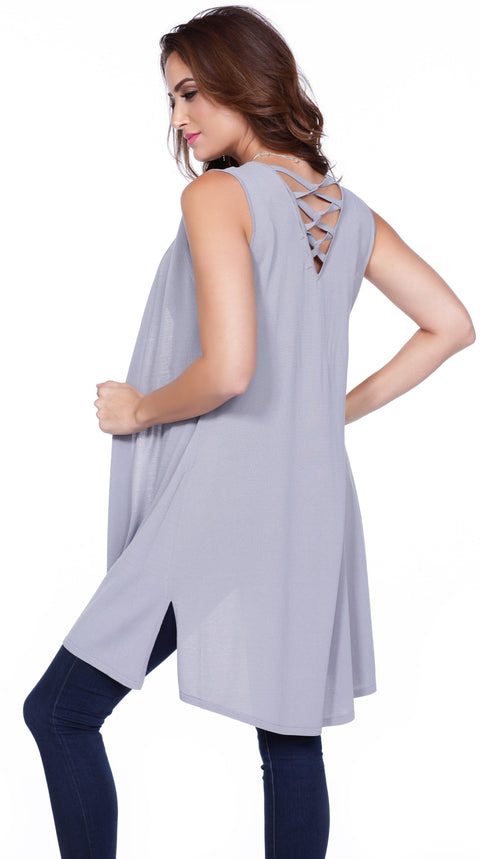 Dramatic Duster Vest with Side Slits & Crisscross Back Straps HEATHER GREY