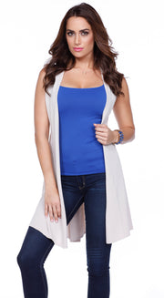 Dramatic Duster Vest with Side Slits & Crisscross Back Straps HEATHER OATMEAL