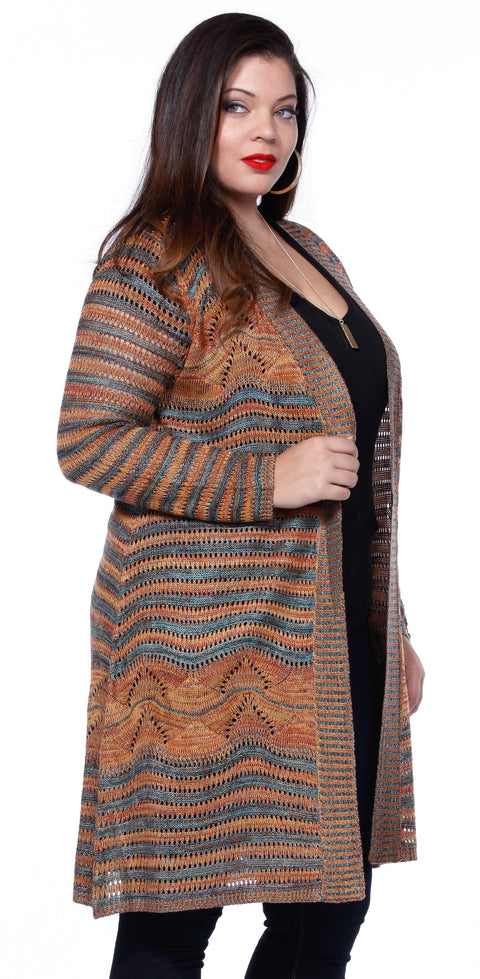Duster Length Open Cardigan with Open Knit Design - Plus ORANGE COMBO