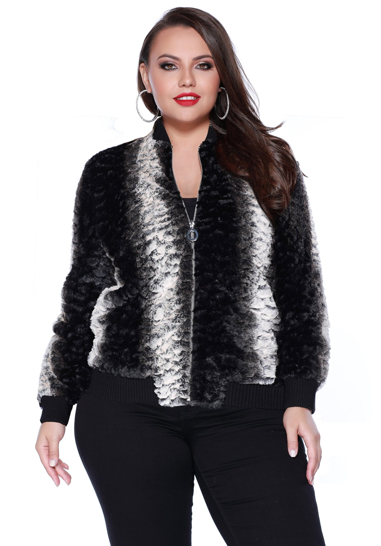 034eb95b7df Share Share on Facebook Tweet Tweet on Twitter Pin it Pin on Pinterest. Faux  Fur Bomber Jacket with Pockets BLACK