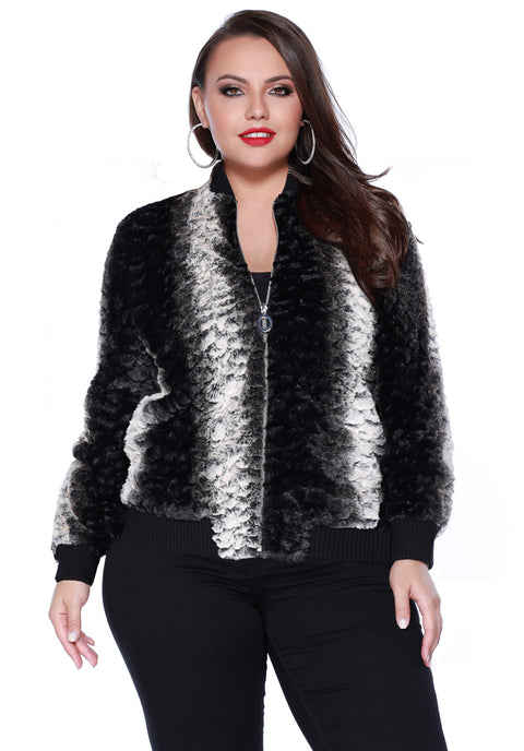 Faux Fur Bomber Jacket with Pockets BLACK