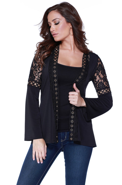 Flare Sleeve Open Cardigan with Lace and Grommet Detail BLACK