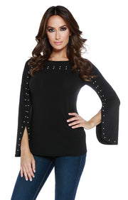 Flared Long Sleeve Pullover with Pearl Trim BLACK/IVORY