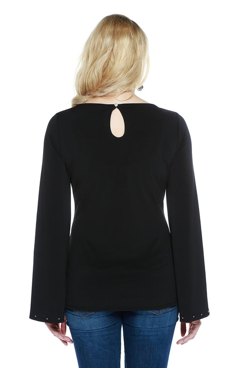 Flared Long Sleeve Pullover with Pearl Trim BLACK/PEWTER
