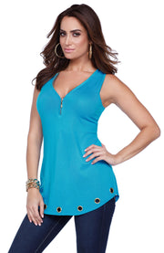 Flirty and Fun Tank with Zipper Neckline and Grommet Hem LAGOON/GOLD