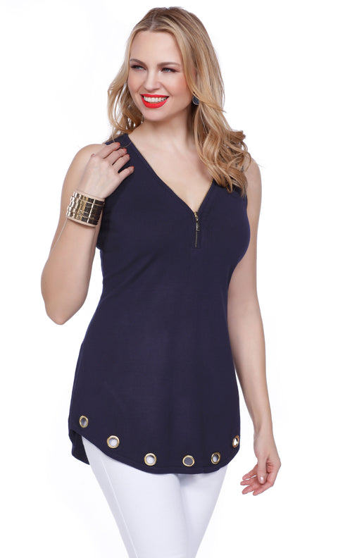 Flirty and Fun Tank with Zipper Neckline and Grommet Hem NAVY/GOLD