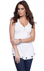 Flirty and Fun Tank with Zipper Neckline and Grommet Hem WHITE/GOLD