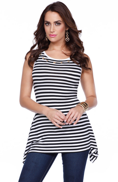 Fun Striped Tunic Length Tank with Grommet & Chain Detail BLACK/WHITE/GOLD