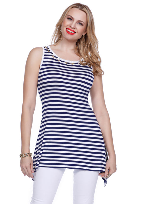 Fun Striped Tunic Length Tank with Grommet & Chain Detail NAVY/WHITE/GOLD