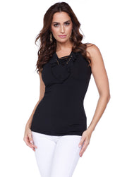 Fun and Flirty Tank Top with Ruffle & Laced Neckline Detail BLACK