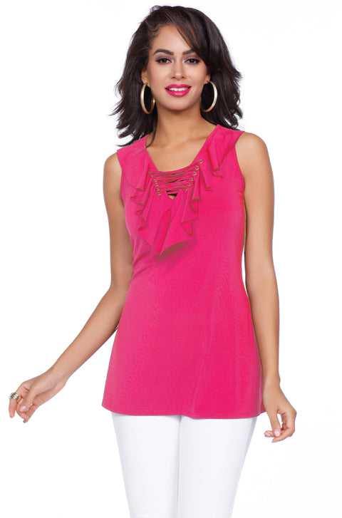Fun and Flirty Tank Top with Ruffle & Laced Neckline Detail POMEGRANATE PUNCH