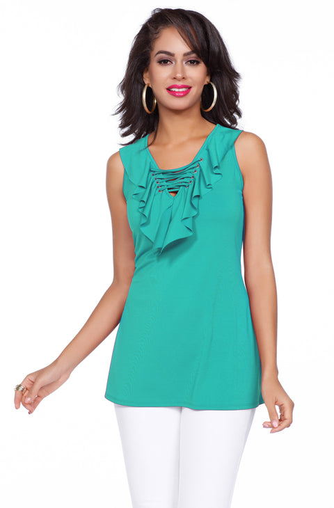 Fun and Flirty Tank Top with Ruffle & Laced Neckline Detail TAHITI GREEN