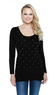 Hacci Crewneck Long Sleeve Pullover with Rhinestones and Pearl Trim BLACK