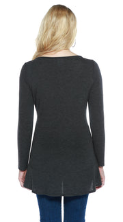 Hacci Crewneck Long Sleeve Pullover with Rhinestones and Pearl Trim HEATHER CHARCOAL