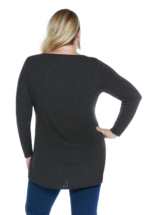 Hacci Crewneck Long Sleeve Rhinestone Pullover - Plus Size
