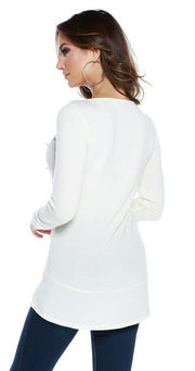 Hacci Crewneck Long Sleeve Pullover with Rhinestones and Pearl Trim WINTER WHITE