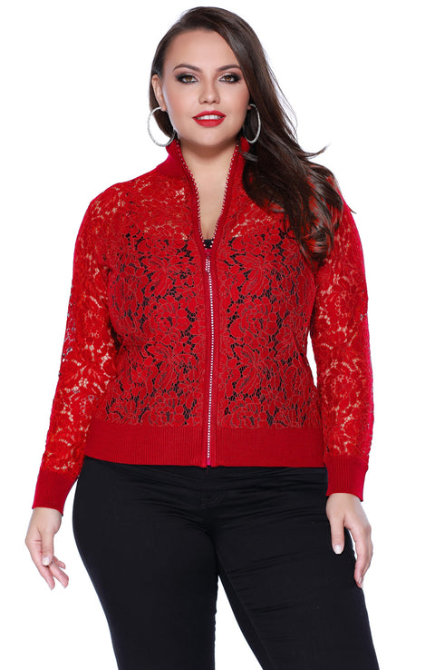 Lace Bomber Style Jacket with Ribbed Collar, Cuffs and Hem - Plus BELLDINI RED