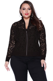 Lace Bomber Style Jacket with Ribbed Collar, Cuffs and Hem - Plus BLACK
