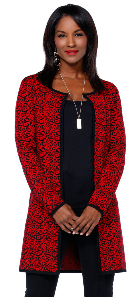 Leopard Print Jacquard Sweater BLACK/BELLDINI RED