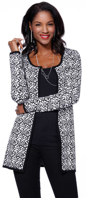 Leopard Print Jacquard Sweater BLACK/WHITE