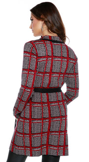 Long Sleeve Belted Open Cardigan with Notched Lapel and Button Cuffs BLACK/TRUFFLE/BELLDINI RED