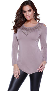 Long Sleeve Cold Shoulder Pullover with Graphic Stud Design TRUFFLE
