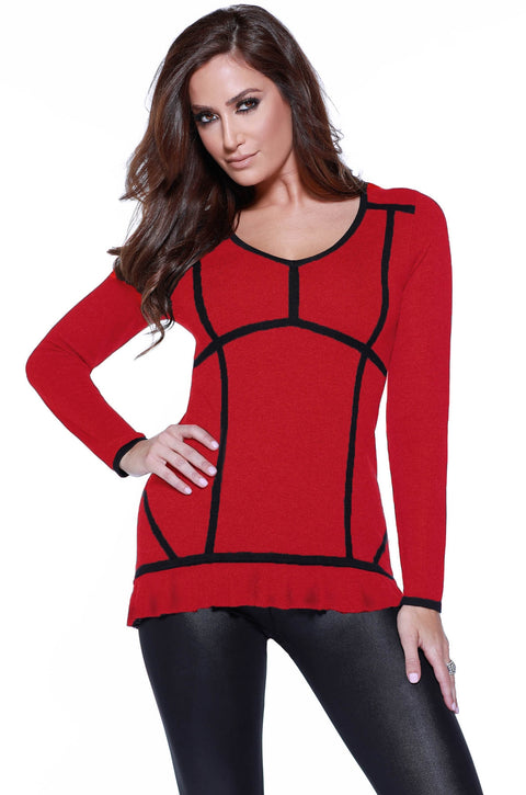 Long Sleeve Colorblock Pullover with Ruffled Hem BELLDINI RED/BLACK