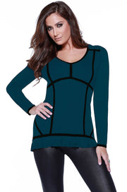 Long Sleeve Colorblock Pullover with Ruffled Hem WINTER TEAL/BLACK