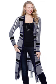 Long Sleeve Frayed Open Duster with Fringe NAVY COMBO