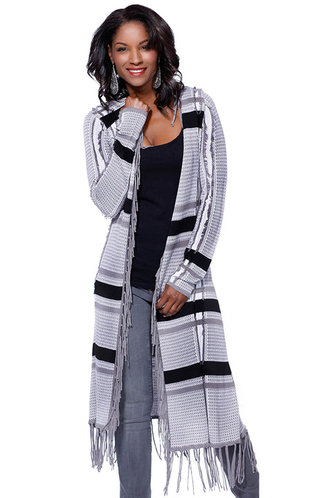 Long Sleeve Frayed Open Duster with Fringe PEBBLE COMBO