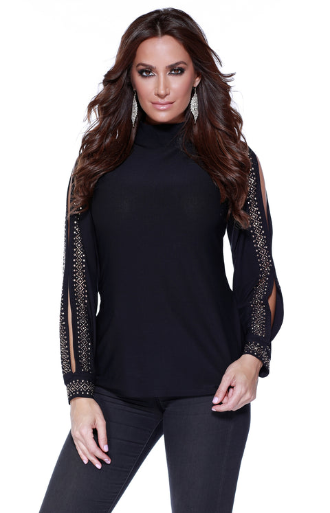 Long Sleeve High Neck Pullover with Studded Trim and Open Sleeves BLACK/ROSE GOLD