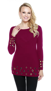 Long Sleeve Multi Grommet Hem Cuffed Tunic PLUM WINE
