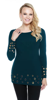 Long Sleeve Multi Grommet Hem Cuffed Tunic WINTER TEAL