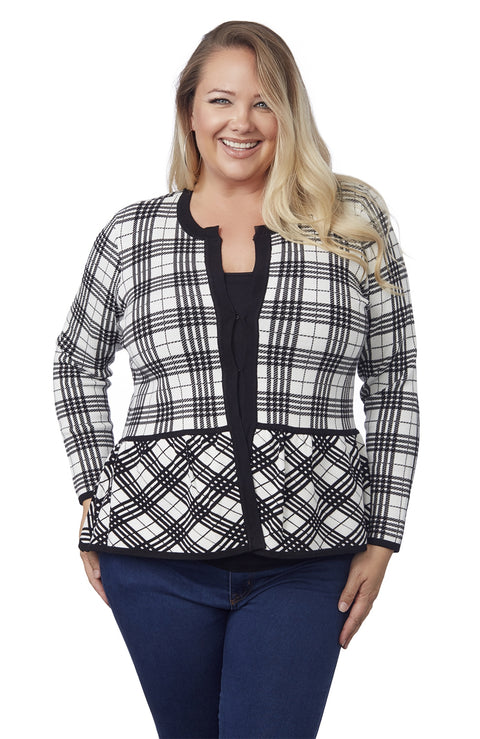 Long Sleeve Plaid Peblum Cardigan-Plus BLACK/SILVER