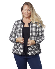 Long Sleeve Plaid Peblum Cardigan-Plus WINTER WHITE/BLACK
