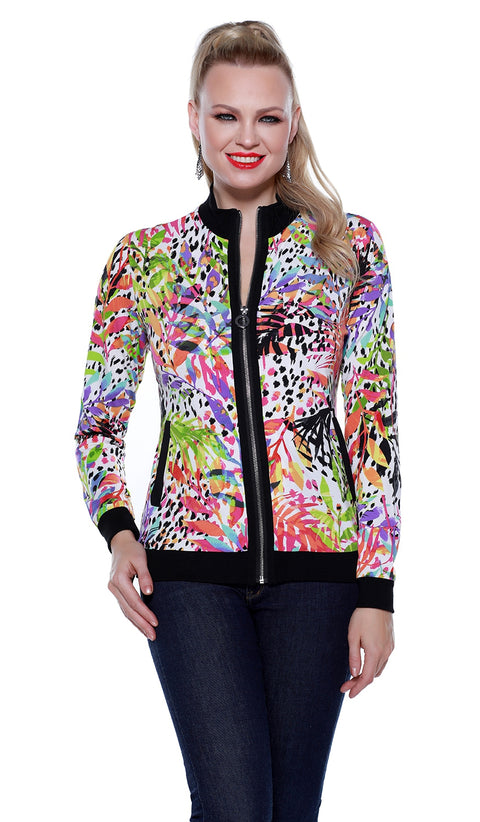 Long Sleeve Printed Bomber Jacket with Ribbed Collar, Cuffs, and Hem TROPICAL PARADISE