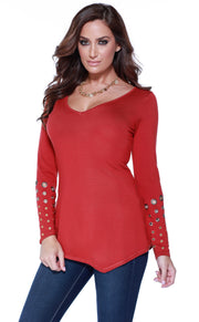 Long Sleeve Pullover with Asymmetrical Hem and Grommet Detail on the Sleeves CINNAMON