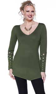 Long Sleeve Pullover with Asymmetrical Hem and Grommet Detail on the Sleeves MILITARY GREEN