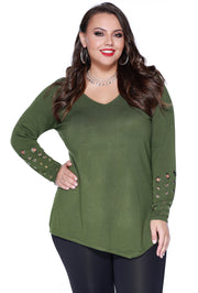 Long Sleeve Pullover with Asymmetrical Hem and Grommet Detail on the Sleeves - Plus Size