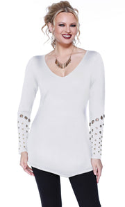 Long Sleeve Pullover with Asymmetrical Hem and Grommet Detail on the Sleeves WINTER WHITE