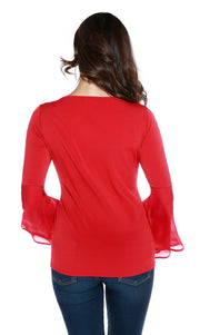 Long Sleeve Pullover with Cutout Detail and Bell Sleeves