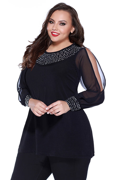 Long Sleeve Pullover with Open Sleeves and Bejeweled Cuffs - Plus Size