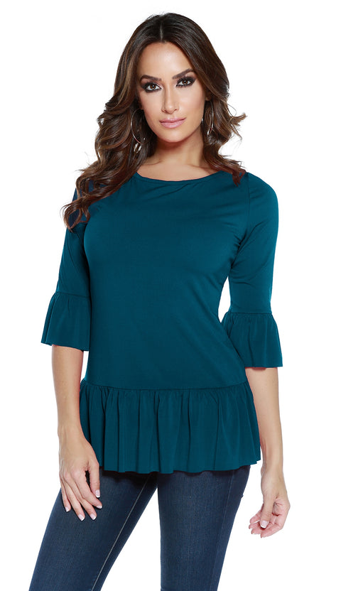 Long Sleeve Pullover with Ruffled Hem and Sleeves