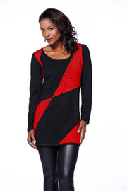 Long Sleeve Colorblock Tunic Rhinestone Trim Ladies Fall Clothing BLACK/BELLDINI RED