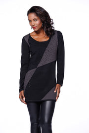 Long Sleeve Colorblock Tunic Rhinestone Trim Ladies Fall Clothing BLACK/HTHR CHARCOAL