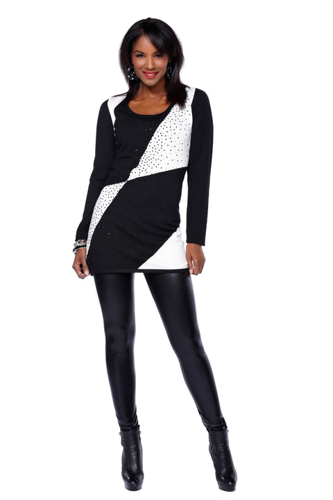 Long Sleeve Colorblock Tunic Rhinestone Trim Ladies Fall Clothing BLACK/IVORY