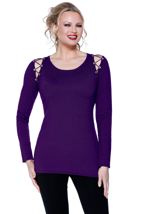 Long Sleeve Pullover with Cutout Shoulder Details