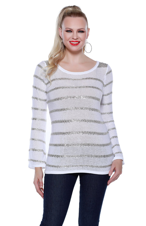 Long Sleeve Round Neck Pullover with Sequin Yarn Stripes WHITE/PLATINUM