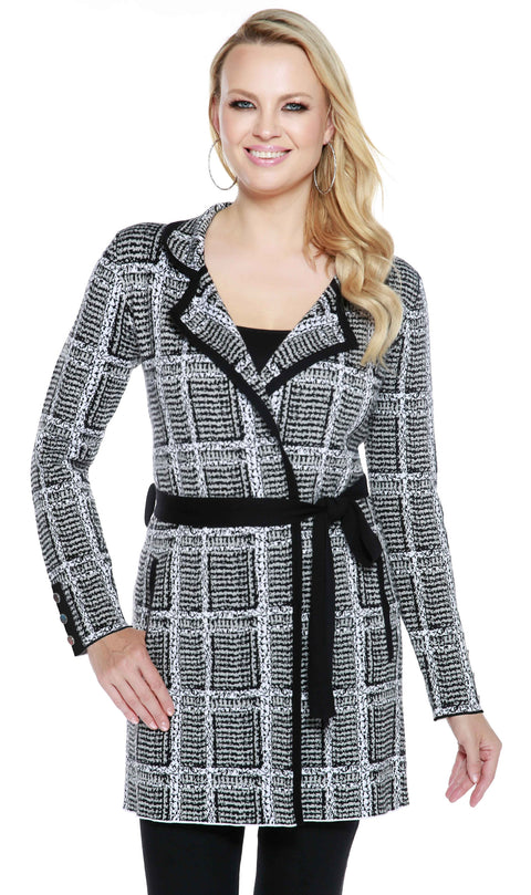 Long Sleeve Belted Open Cardigan with Notched Lapel and Button Cuffs BLACK/HEATHER GREY/WHITE