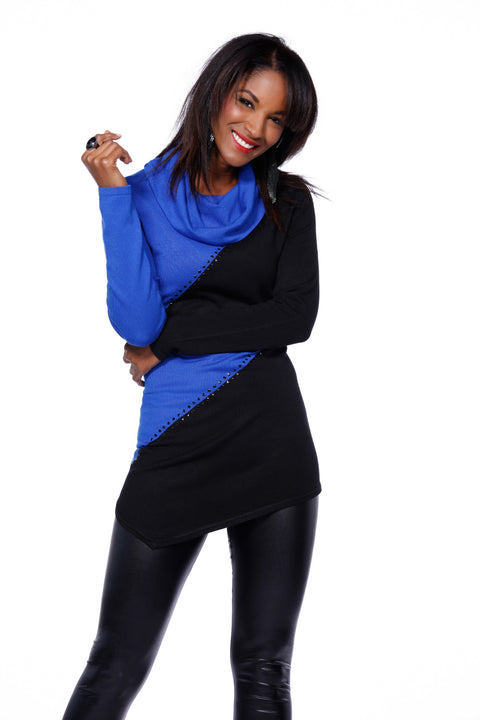 Long Sleeve Colorblock Pullover COBALT/BLACK